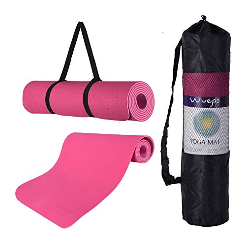 esterilla deporte, esterilla yoga Wueps, incluye correa de hombro y bolsa de transporte, ideal para realizar deporte en casa, yoga mat, esterilla yoga antideslizante, (Color Rosa Roja y Rosa Claro)