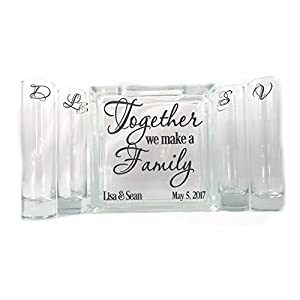Silk Flower Arrangements Personalized Blended Family Sand Unity Ceremony Set - Together We Make a Family - 6 pouring vases
