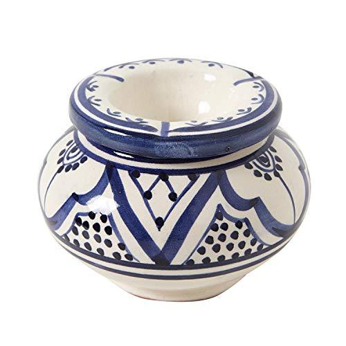 Casa Moro marokkanischer Keramik Aschenbecher Weiss mit Deckel