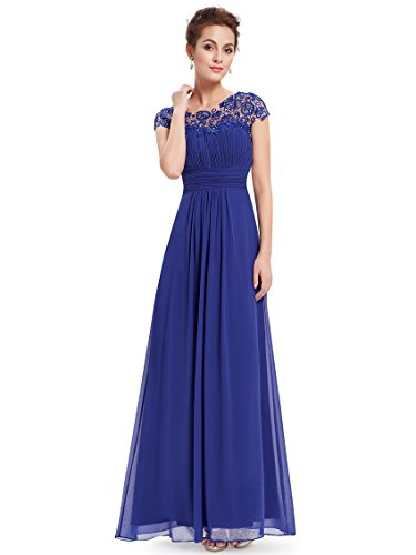 Ever-Pretty Vestiti da Sera e Cerimonia Donna Linea ad A Elegante Stile Impero Chiffon Abiti da Damigella d'Onore Blu Zaffiro 36
