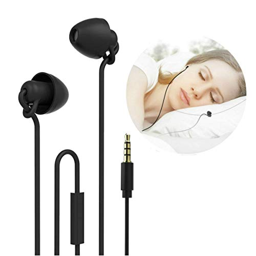 NUBWO Sleep Earplugs,Noise Isolating Sleep Earbuds,Sleeping Headphone with Microphone & Unique Total Soft Silicone for Insomnia, Meditation, Side Sleeper, Snoring, Air Travel, ASMR,Relax (Black)