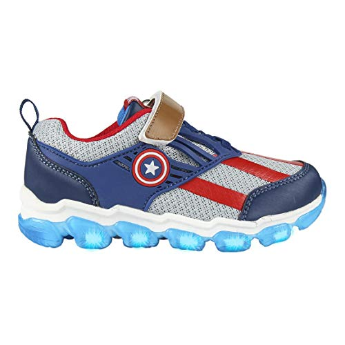 CERDÁ LIFE'S LITTLE MOMENTS Cerdá-Zapatilla con Luces del Capitán América de The Avengers de Color Azul, Gris Perla, 23 EU