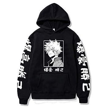 RongJun Unisex Bakugou Katsuki Cosplay Hoodies Anime MHA Pullover Sweatshirt for Halloween Costume  Small Black 1