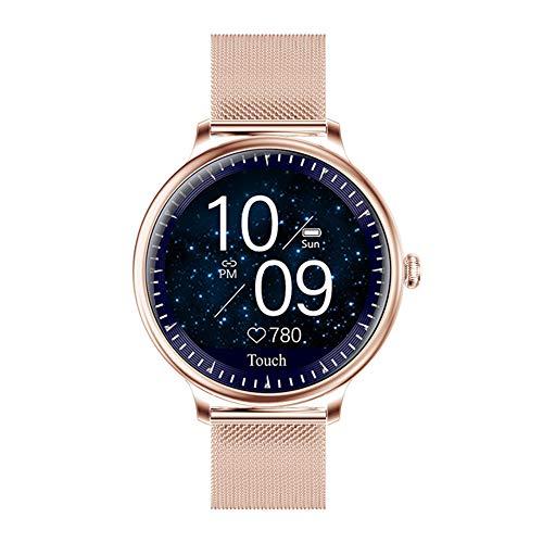 ZYD Stilvolle Damen Smart Watch Rundsieb Smartwatch Für Mädchen Heart Rate Monitor Kompatibel Für Android Und Ios,A