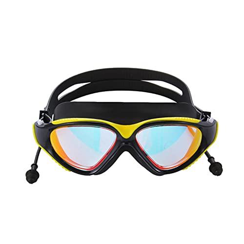 XUEXIU Gafas De Natación con Tablujas con Tapa De Agua Protección Ocular Anti-Niebla Gafas De Buceo Profesional Subacuático Gafas Gafas Hombres Mujeres (Color : Black Yellow)