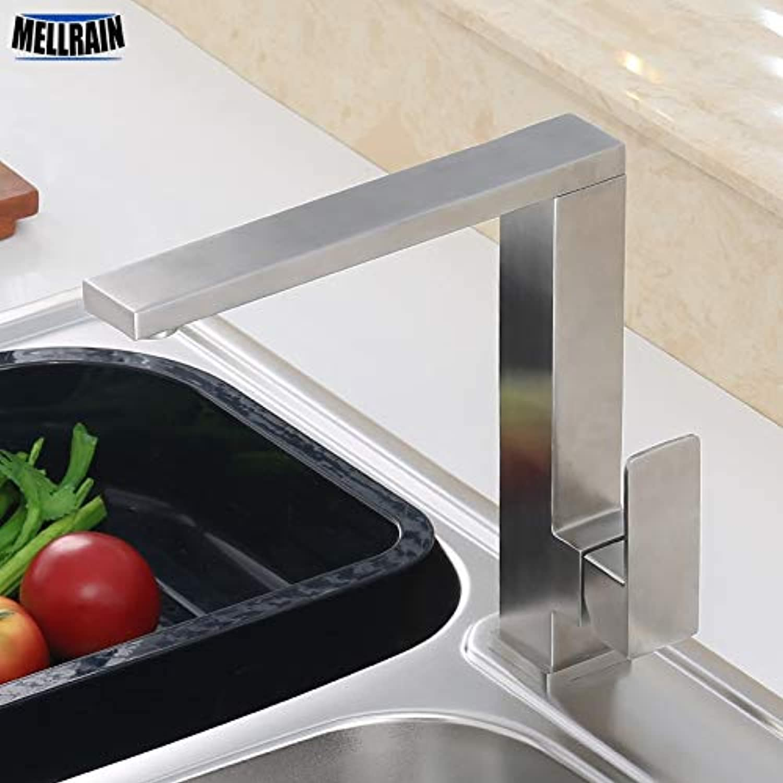 CZOOR Hochwertiger quadratischer Küchenarmatur aus Edelstahl, gebürstet, drehbar, heier und kalter Sinik-Mischwasserhahn für Küche und Bad