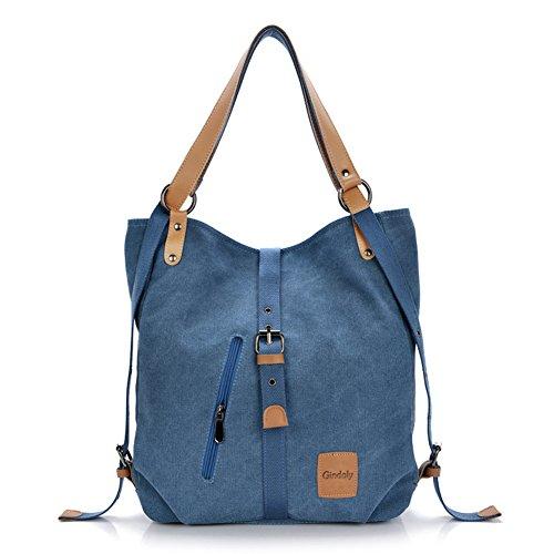 Stilvolle Damen Canvas Handtasche Rucksack Umhängetasche 3 in 1 Große Multifunktionale Tasche für Arbeit Schule Alltag(Blau)