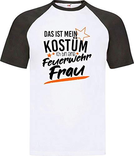 Shirtinstyle Camiseta Raglan Carnaval Verkleidet como Bombera Disfraz de Carnaval Revestimiento, S-XXL - Blanco-Negro, XL