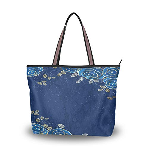 DAOXIANG Valentine's Day Women Tote Bags Top Handle Satchel Handbags,Blue Rose (1) Large-Capacity Shoulder Bag Shopping Bags for School Work Travel (M)