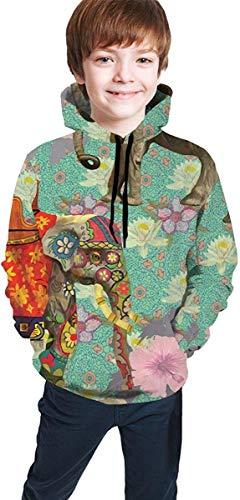 Jugend Kapuzenpullover Jungen Mädchen 3D Printed Indian Elephant Floral Pattern Pullover Hoodies Hooded Sweatshirts Tops Blouse with Pocket