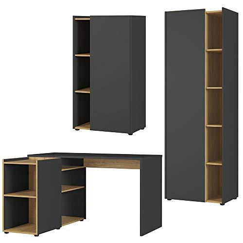 Germania 3-tlg. Büro-Set 8596-549 GW-Austin, bestehend aus Schreibtisch und zwei Aktenschränken, im Dekor Graphit/Navarra-Eiche-Nb.