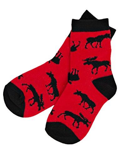 Hatley Kids Crew Socks-Moose On Red Calcetines para Niños