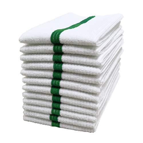 Polyte - Trapo Multiusos de Microfibra - Ideal para el hogar, cocinas y restaurantes - Tela de Toalla Acanalada - Blanco con Raya Verde - 36 x 43cm - Pack de 12