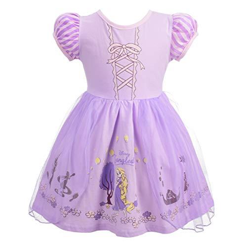 Lito Angels Bambina Abito da Principessa Rapunzel Vestito Casual Festa di Compleanno Costumi di Halloween Taglia 4-5 Anni
