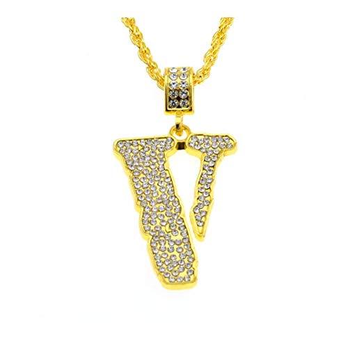 AdorabFruit Présent Pendentif Bling Cadena V Carta de los Hombres Collar de los Collares del Punk Rock de la joyería de Regalo (Metal Color : Gold)