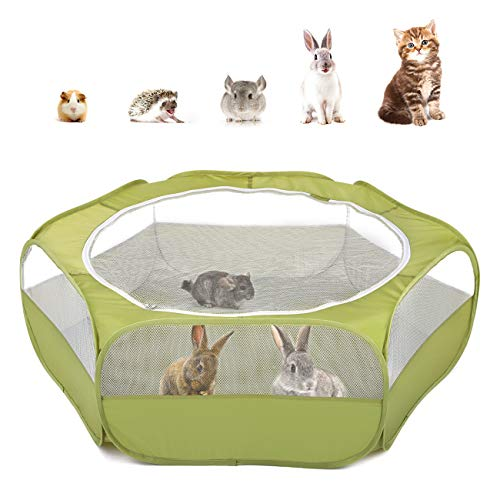 Pawaboo Small Animals Playpen, Waterproof Small Pet Cage Tent with Zippered Cover, Portable Outdoor Yard Fence with 3 Metal Rod for Kitten/Puppy/Guinea Pig/Rabbits/Hamster/Chinchillas, Avocado Green