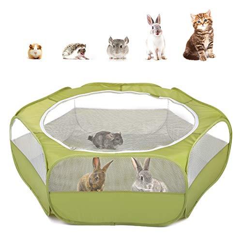 Pawaboo Kleintiere Freigehege, Wasserdicht Faltbar Kaninchen Freilaufgehege für Hasen Hühner Kätzchen Welpen Kaninchen Hamster, Visuell Laufstall mit Netz Reißverschluss und Nylonboden - Grün