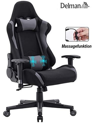 Delman Racing Bürostuhl Schreibtischstuhl Gaming Chair Drehstuhl Computerstuhl Stoff Bezug mit Kissen einstellbaren Armlehnen Ergonomisch höhenverstellbar 02-0021GY (Schwarz-Grau)