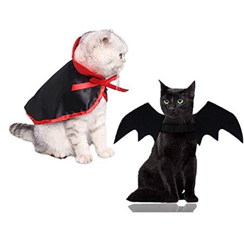 LAWOHO Juego de disfraz de Halloween para mascotas, 2 piezas, alas de murciélago, capa de vampiro para gatitos, cachorros, perros, Halloween, Navidad, vacaciones y cosplay de mascotas