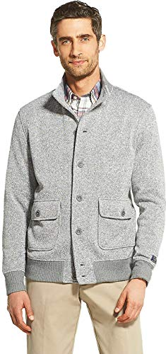 IZOD Men's Premium Essentials Bomber Jacket Cardigan Sweater (Light Grey Heather, 2X-Large)