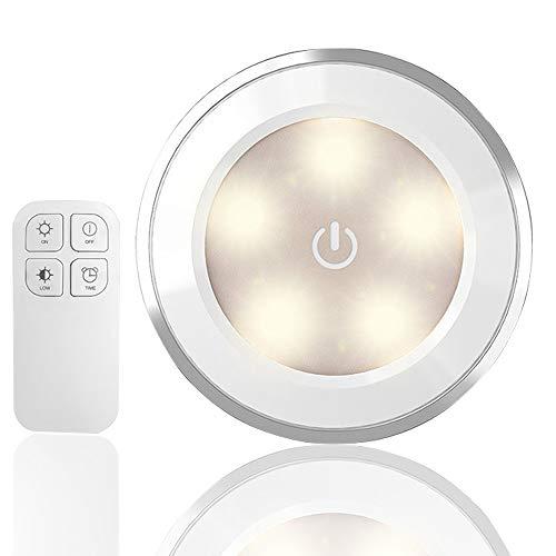 AndThere Lámpara LED Nocturna de Armario Inalámbrica Luces LED de Noche con Control Remoto Lámpara LED de Cocina para Debajo del Gabinete Habitación Pasillos Escaleras Vitrina Cocina Garaje (1 pcs)