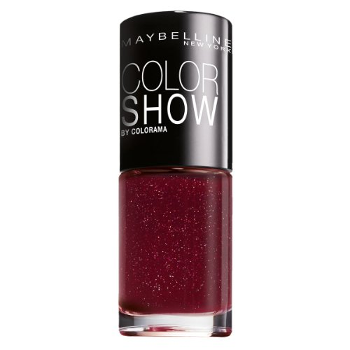 Maybelline New York Make-Up Nailpolish Color Show Nagellack Wine Shimmer / Ultra glänzender Farblack in glitzerndem Bordeaux Rot, 1 x 7 ml