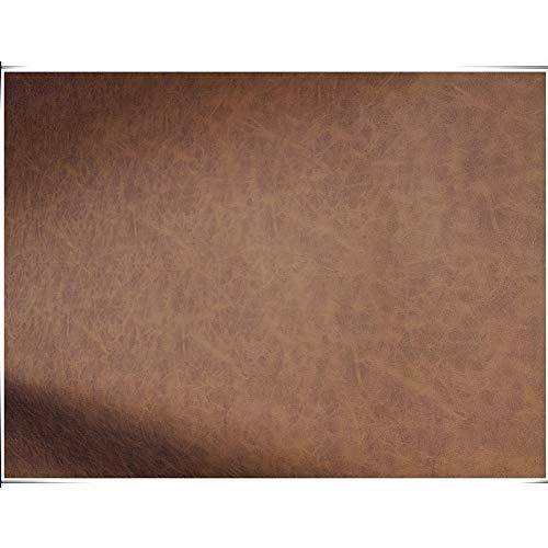 NAKAN Marrón Tela de Polipiel por Metros Patrón Antiguo 138x100cm PU Tela de Imitación de Cuero para Tapicería, Manualidades de Costura, Sofá, Decoraciones