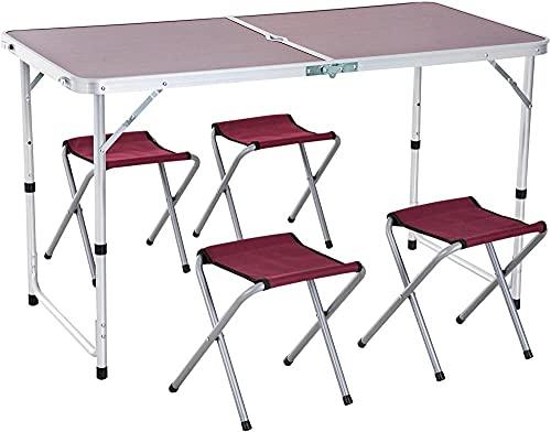 Tavolo valigia in alluminio 4 sgabello pieghevole portatile per campeggio picnic giardino terrazza set mobili esterni altezza regolabile