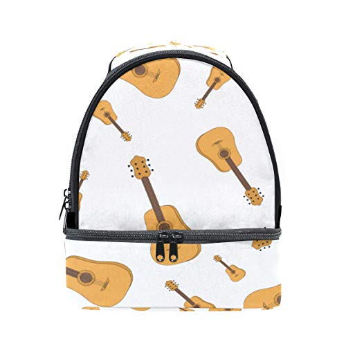 Bento Lunch Large Capacity Guitar Music Instrument Sturdy Double Layer Lunch Bag Teens Lunch Clear Multifunction Case Outdoor For Adult Container With Shoulder Strap American Classic Club Duffel