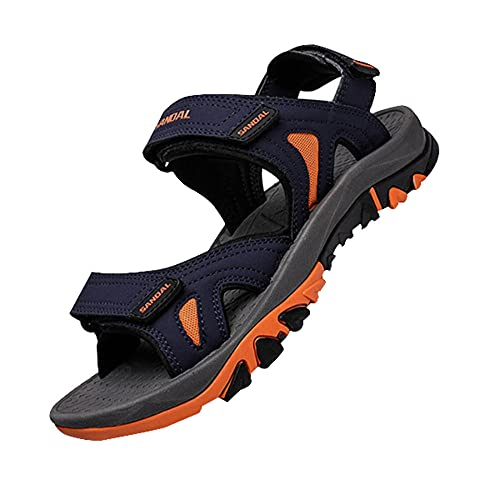Sandalias deportivas con punta abierta, para senderismo, para exteriores, antideslizantes, ajustables, con puntera abierta, para hombres,, Azul Oscuro, 43 EU