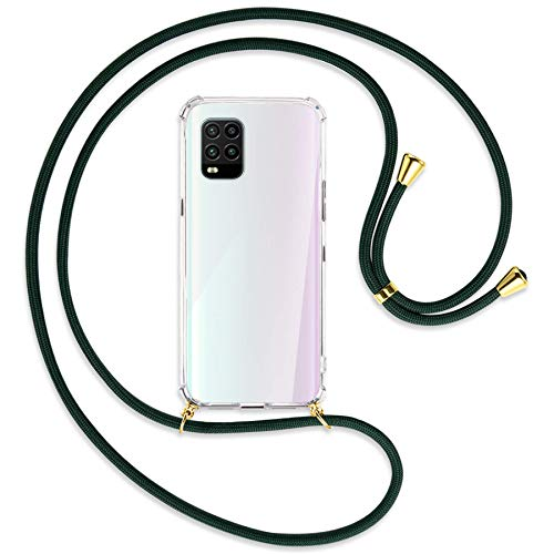 mtb more energy® Collar Smartphone para Xiaomi Mi 10 Lite 5G (6.57'') - Verde Oscuro/Oro - Funda Protectora ponible - Carcasa Anti Shock con Correa para Hombro