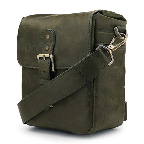 MegaGear Torres Mini borsa per fotocamera, in vera pelle, per fotocamere DSLR e DSLR, colore: Verde oliva