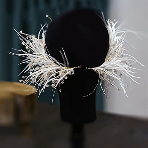 Htipdfg Diademas 1 par de Plumas de Cristal de Cristal Forma Forma de clidato Tocado de Novia súper Hadas Pendientes Conjunto de Accesorios para el Cabello de la Boda de Las Mujeres Venda