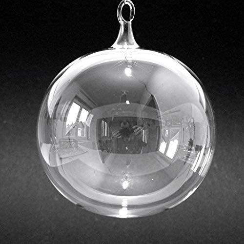 Christbaumkugel aus Klarglas, Christbaumschmuck, Weihnachtskugeln, transparent, 10 cm, Lauscha, Handarbeit