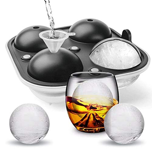 Cusbus Large Ice Cube Trays for Whiskey, 2.5' Flexible 4 Ice Balls Maker with Lids & 4 Bonus Funnels, BPA Free Round Silicone Ice Cube Molds, Reusable Sphere Ice Tray for Cocktail, Bourbon, Scotch