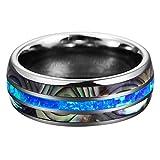 HSKB - Anillo de Compromiso para Mujer, Elegante y Redondo, de Acero Inoxidable, para el día de San Valentín, Promesa o Compromiso, Azul (Azul) - JJ-123
