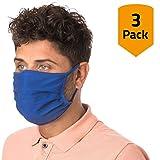 Facetex 3er-Pack Mundschutz waschbar aus 100% Bio-Baumwolle Oeko-TEX 100 Standard Earloop-Design | Wiederverwendbare Behelfs-Abdeckung für Mund Nase in blau | 3 St. Hände-Hygienetücher gratis