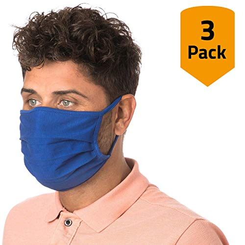 3er-Pack Mundschutz waschbar aus 100% Bio-Baumwolle Oeko-TEX 100 Standard Earloop-Design | Wiederverwendbare Behelfs-Abdeckung für Mund Nase in blau | 3 St. Hände-Hygienetücher gratis