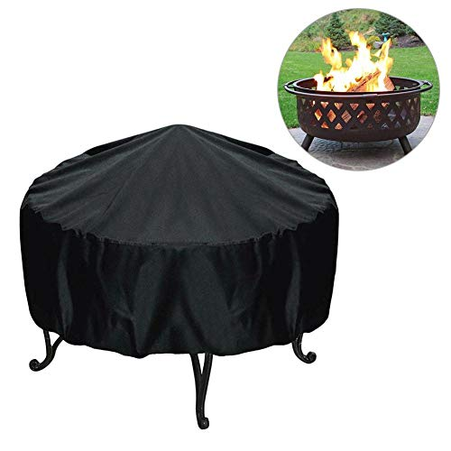 Lifesongs Waterproof Large Fire Pit Cover Garden Patio Fire Pit Cover Patio Heater Cover Weather Resistant Cover, Round Black Very Well