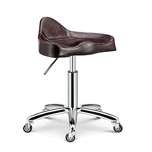 Tabouret pivotant Beauty Chair, Hauteur réglable, avec roulettes, Rotation de 360 degrés, Coussin de 10 Cm, 4 Couleurs (Couleur : Maroon, Taille : 44-56cm)