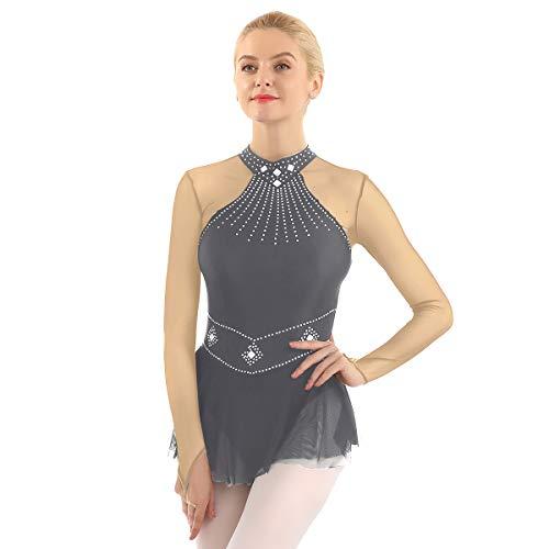 FEESHOW Frauen Eislaufkleid Langarm Mesh-Spleiß Trikotanzug mit Netzrock Glänzende Strass Rollschuhkleid Eiskunstlauf Bekleidung Grau XX-Large