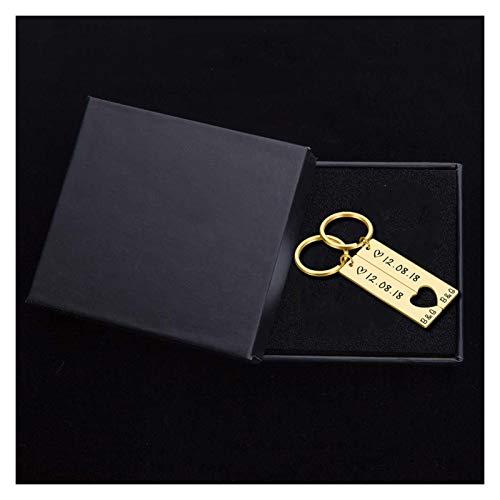 YUXIN ZHAOCHEN 2 stücke Benutzerdefinierte Paar Keychain Gedenksgift Key Ring Damen Männer Schlüsselanhänger Liebe Geschenk (Color : 6)