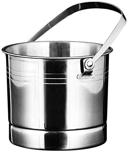 ZTMN Edelstahl Champagner Eimer, tragbare Eiskübel Flaschenkühler Getränke Eimer EIS Weinbehälter Bierfass Tragegriff Zange-silbrig 14x13cm (6x5inch)