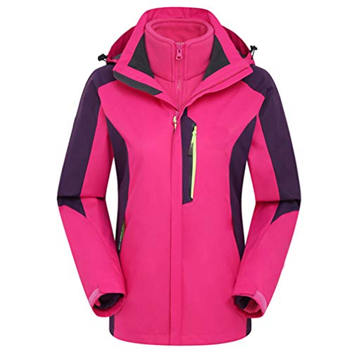 WARM ROOM Dames Outdoor Sneeuw Jack, 3 in 1 Jassen Fleece Ski Jas Winter Waterdichte Softshell Volledige Zip Winddichte Jas Zip Zakken