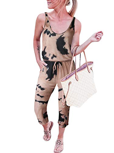 ANRABESS Women Summer Plus Size Casual Sleeveless Tank Top Elastic Waist Loose Activewear Jumpsuit Tie Dye Rompers with Pockets A208gutonghuang-XXL