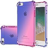 Gufuwo for iPhone se Case (2016), iPhone 5s Case, iPhone 5 Cute Case, Gradient Slim Anti Scratch Soft Clear TPU Phone Case Cover Shockproof Case for iPhone 5/5s/se (Blue/Pink)