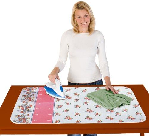 WENKO Blitzbügler-Bügeldecke Blütenpracht - Blitzbügler®-Zone, mit Gleitfunktion, Baumwolle, 100 x 65 cm, Mehrfarbig