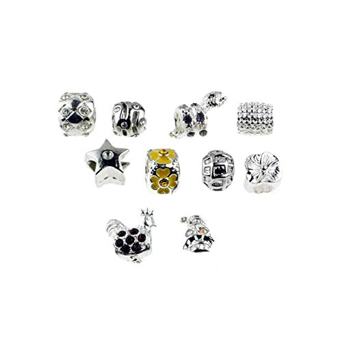 Silver Plated (M525) Charm Beads Set of 10