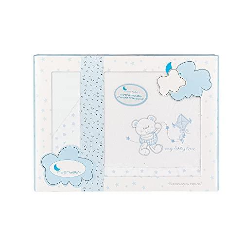 Sábanas de Coralina para minicuna Baby Love en blanco y azul