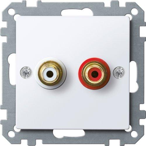 Merten MEG4350-0325 stopcontact voor audio-aansluiting, actief wit glanzend, systeem M
